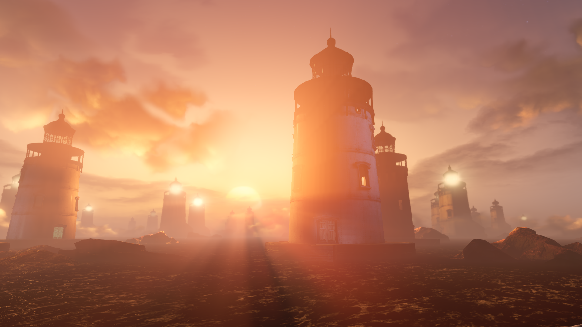 Bioshock Inifite Wallpaper Sunset Light Houses Ending Explain
