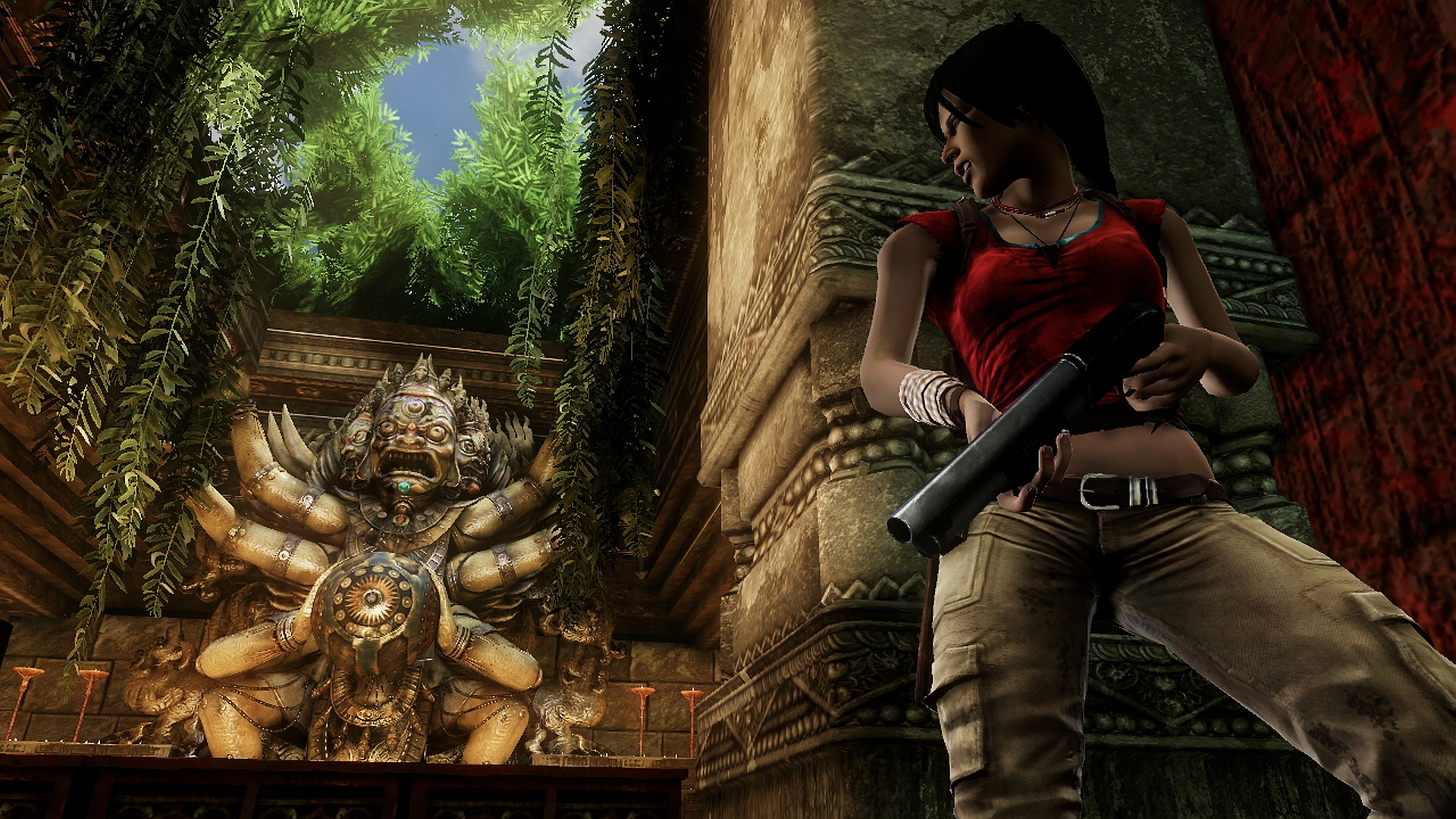 uncharted chloe 1 2 3 gun temple screenshot woman