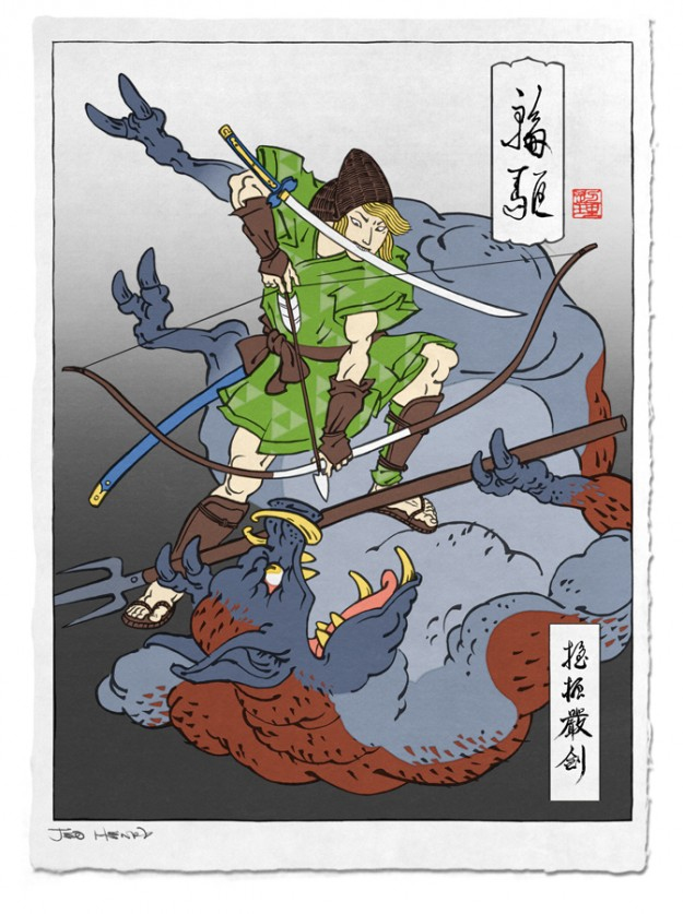 Link Zelda Japanese Art Design Woodblock