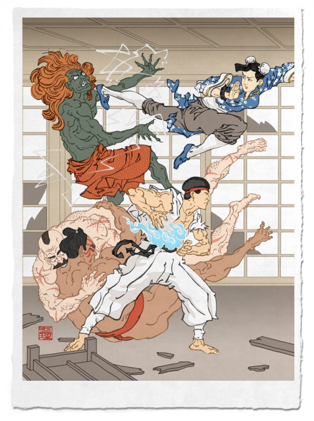Street Fighter Japanese Fan Art Woodblock Poster