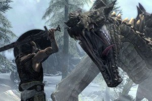 skyrim dragon fight