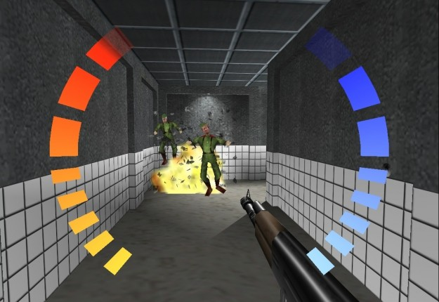 Goldeneye N64 Screenshot Health Armour Explosion